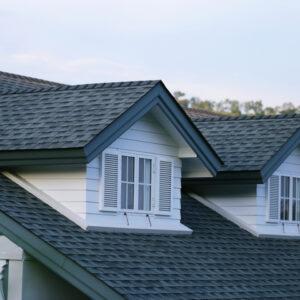 a dark grey metal shake roof